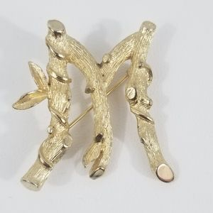 SARAH COVENTRY Vintage 'M' Bamboo Script Pin